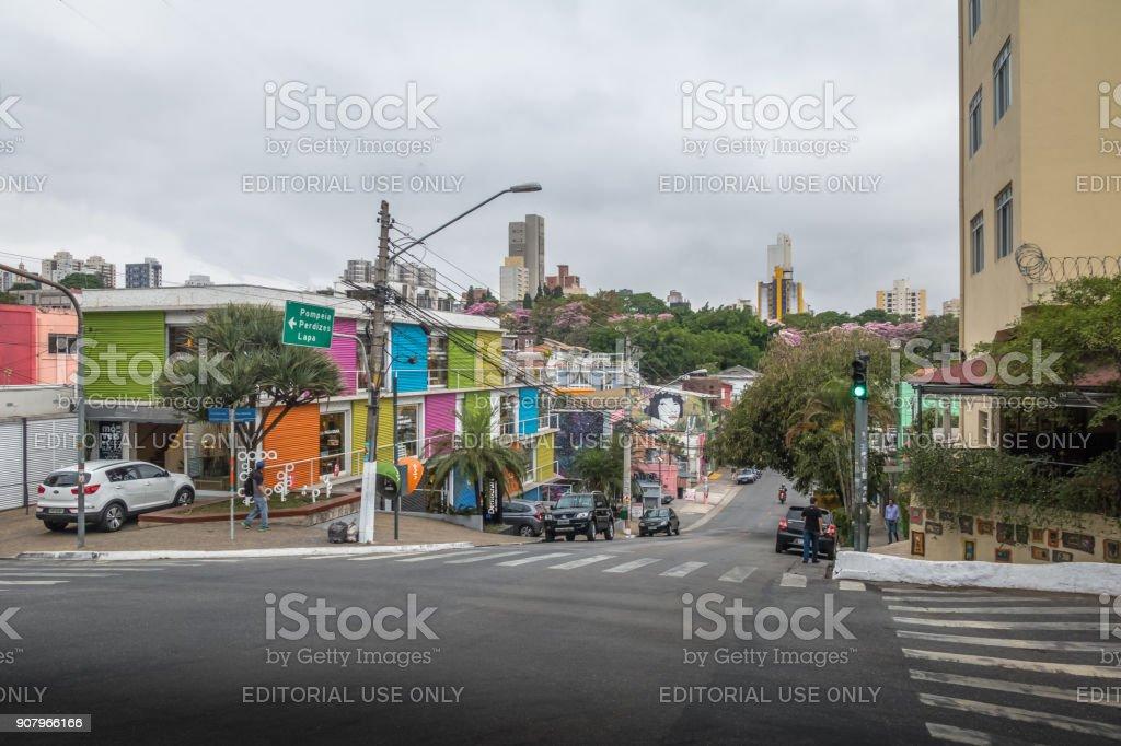 Vila Madalena Neighborhood Street - Sao Paulo, Brazil stock photo