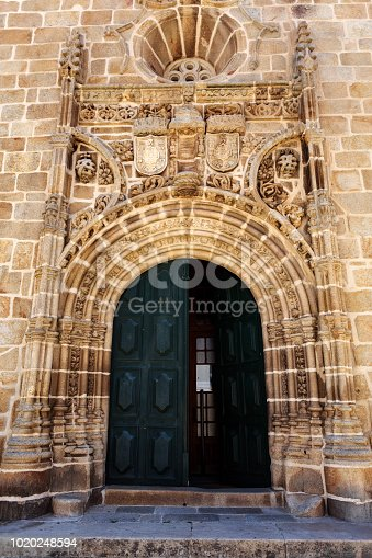 Portal in Gothic Manueline style of the parish church in the town of Vila Nova de Foz Coa, Portugal