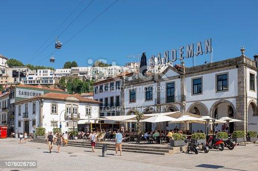 Porto, Portugal - July 16, 2018: Sandeman winery at Vila Nova de Gaia, Porto, Portugal