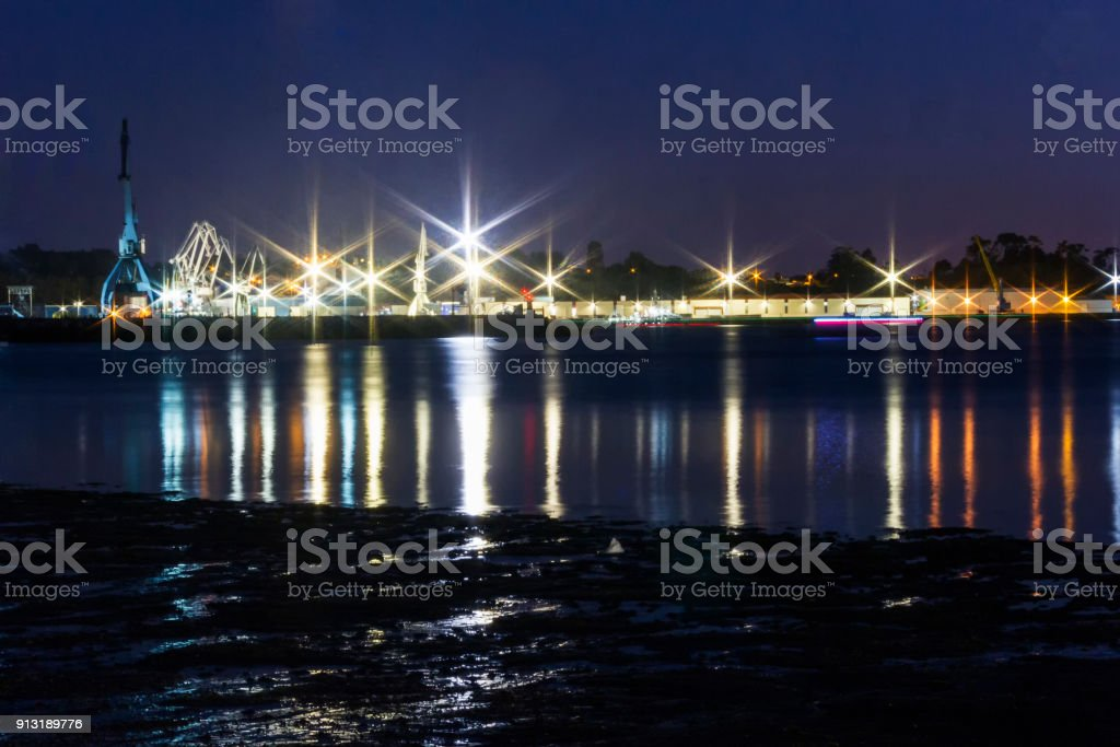 Vilagarcia de Arousa harbor at night stock photo