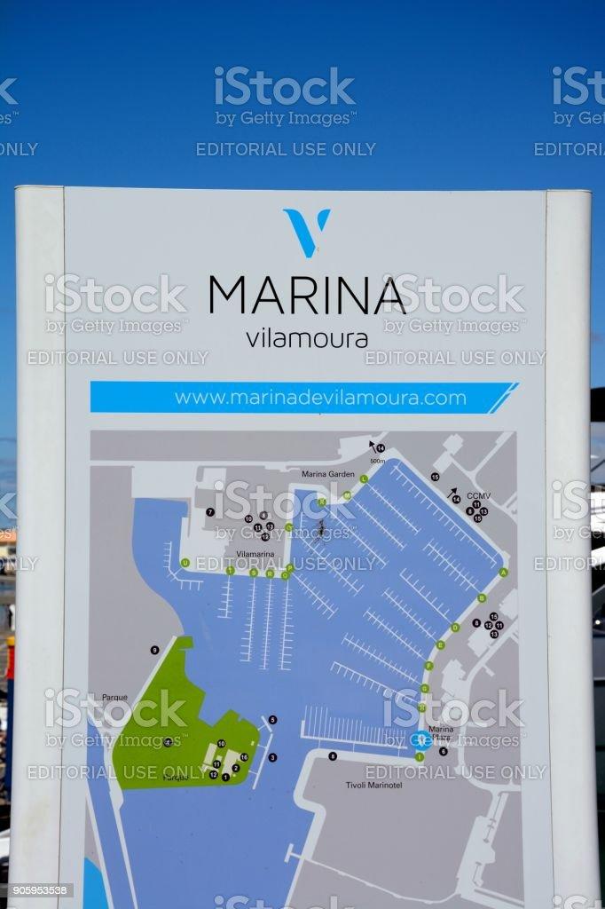 Vilamoura Marina plan. stock photo