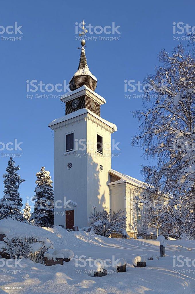 Vilhelmina Church in winter, Sweden stock photo
