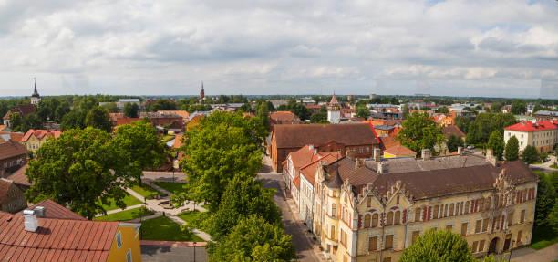 Viljandi town panoramic view from old water tower. Estonia, summertime stock photo