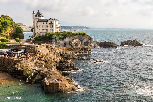 Biarritz, France. The Villa Beltza, a 19th century neo-medieval style house on the cliffs of the rocky coastline of Biarritz, French Basque Country