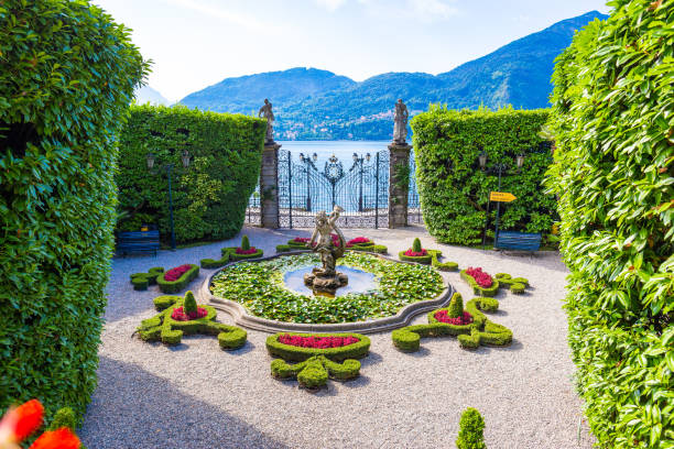Villa Carlotta at Tremezzo, on lake Como, Italy. stock photo