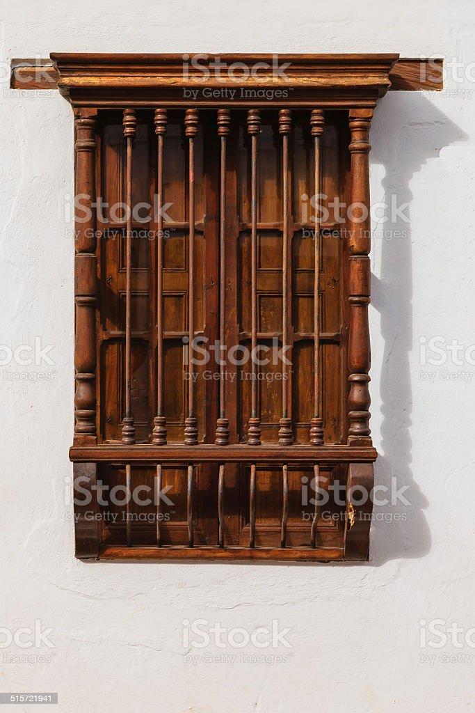 Window facing a street, in the 16th century town of Villa de Leyva in...