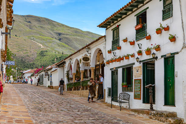 Villa de Leyva, Colombia - Looking Up Calle 13 In The Historic 16th Century Colonial Town in Latin America stock photo