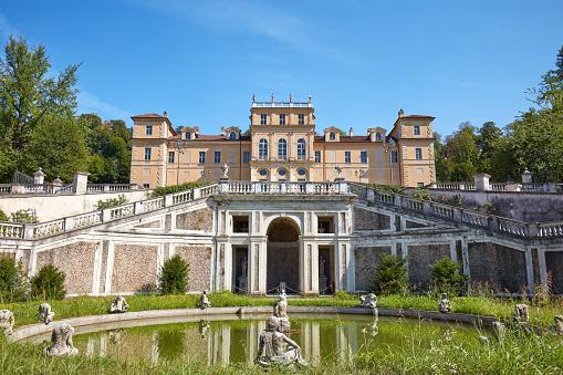 Villa della Regina, queen palace with Italian garden and fountain in a sunny day in Turin, Italy