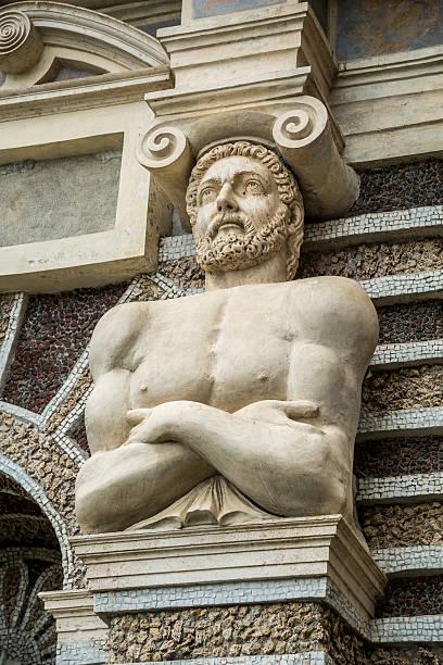 Villa d'Este Musical Theme Statue Villa d'Este detail of the musical Fountain.  greco roman style stock pictures, royalty-free photos & images