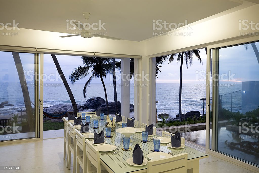 villa dining room sri lanka royalty-free stock photo