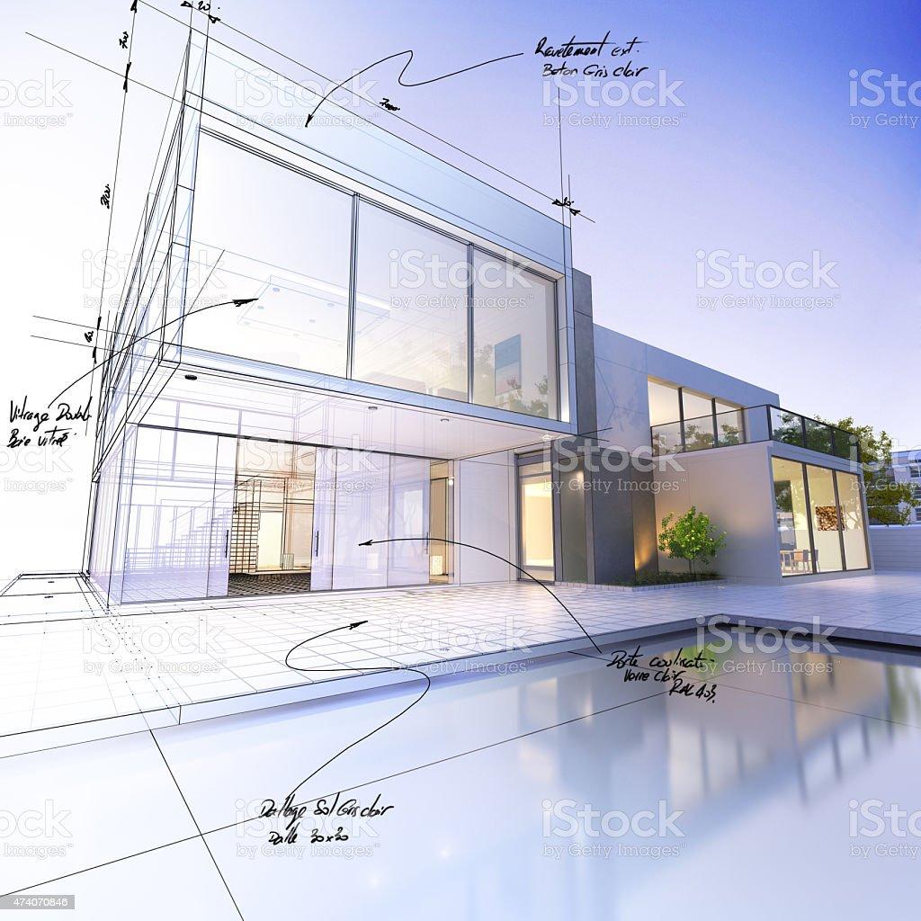 Villa draft stock photo