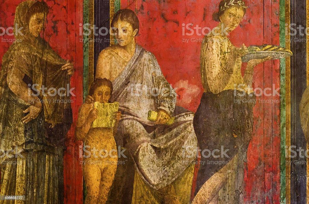 Villa of Mysteries fresco, Dionysiac frieze, Pompeii stock photo