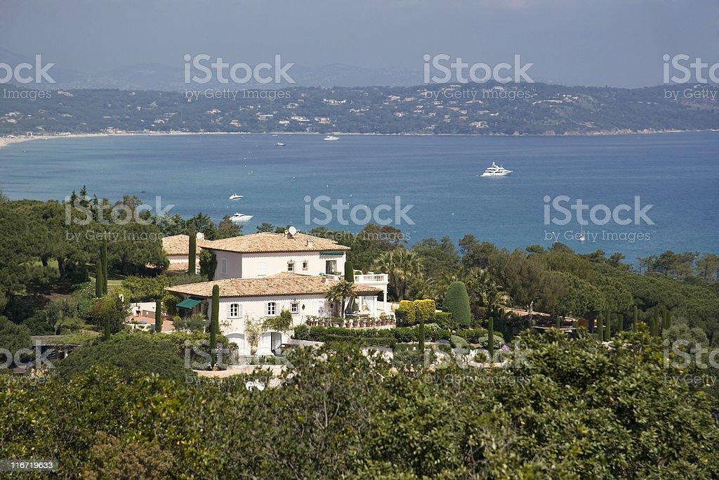 villa over the gulf of Saint-Tropez stock photo