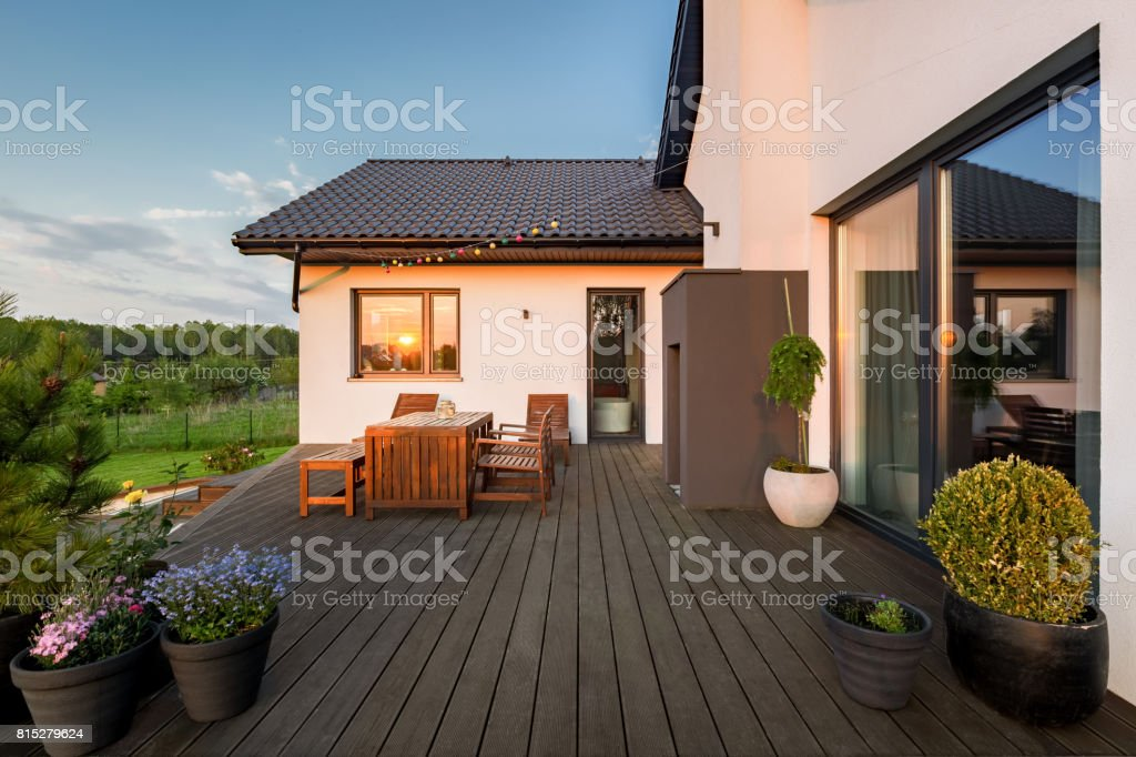 Villa patio with decorative plants stock photo