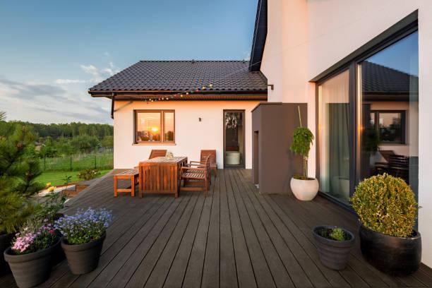 Villa patio with decorative plants stock photo
