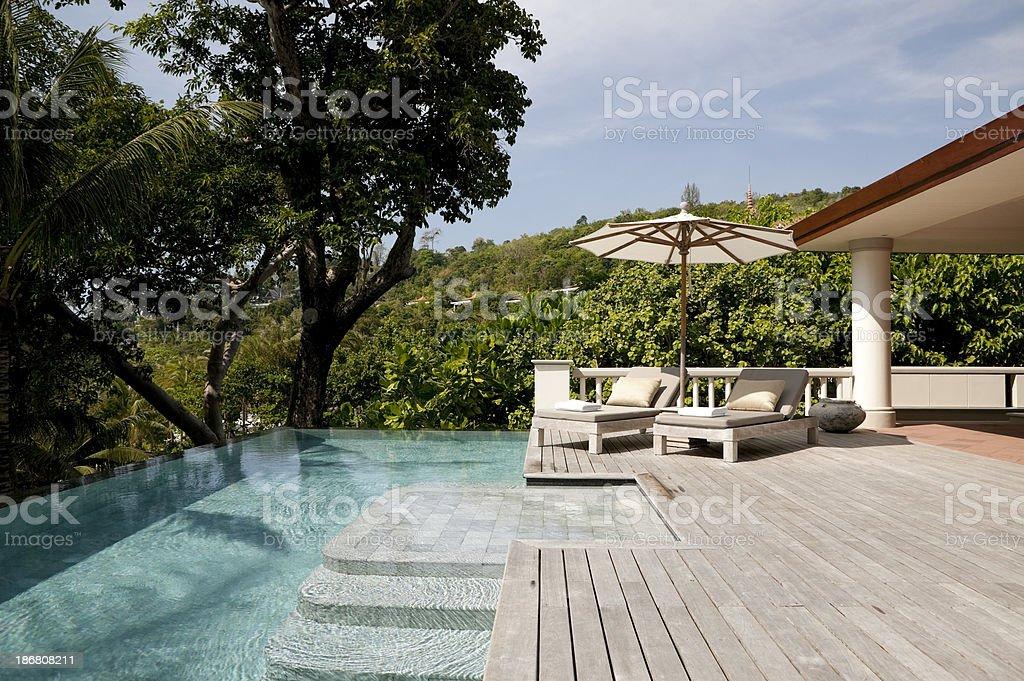 villa resort hotel swimming pool phuket stock photo