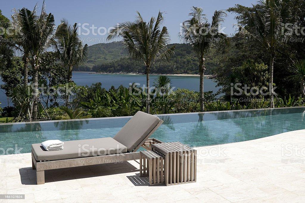 villa swimming pool beach house waterfront royalty-free stock photo
