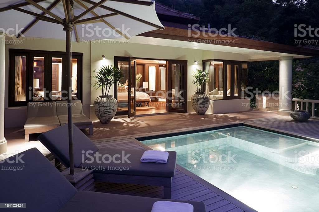 villa swimming pool phuket stock photo