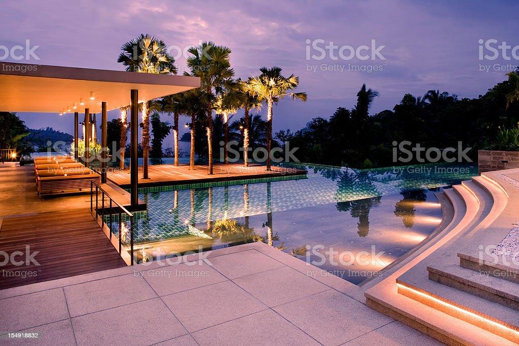 Villa Swimming Pool Sunset stock photo