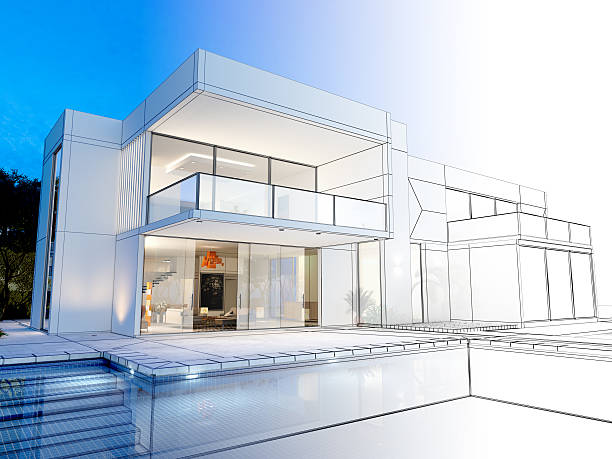 villa technical rendering - wire frame model stock photos and pictures