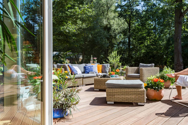 villa terrace with rattan furniture - patio stock photos and pictures