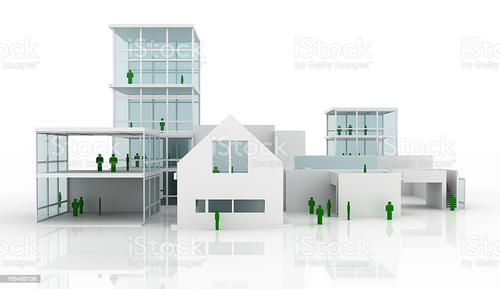 Villa under construction (isolated on white, front view) royalty-free stock photo