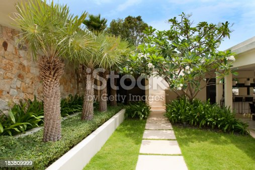 Outdoor Walkway And Courtyard In A Tropical Villa Residence.