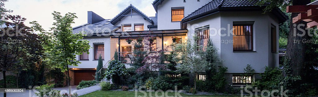 Villa with big garden stock photo