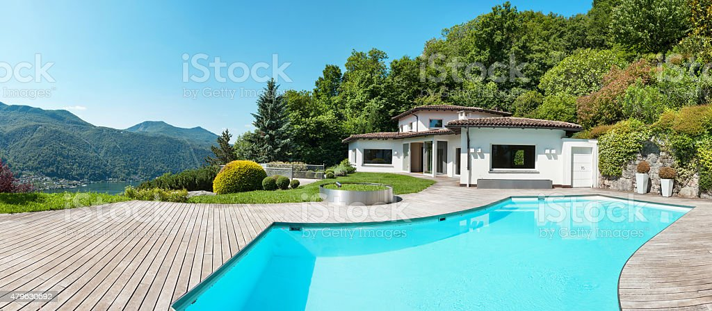 villa with swimming pool stock photo