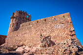 Villafames also Vilafames castle with rodeno red stone in Castellon of Spain