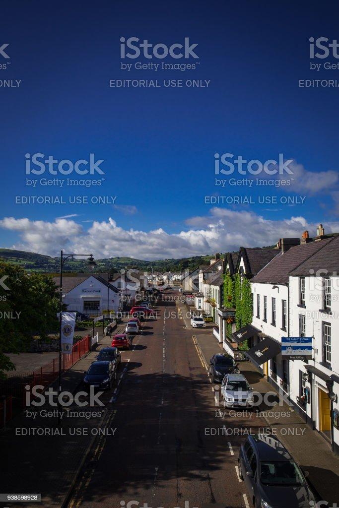 Village along the coast of Northern Ireland stock photo