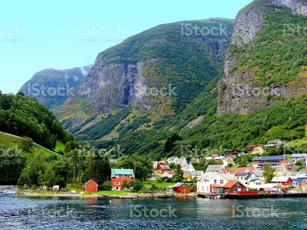 Village along the Norwegian Fjords royalty-free stock photo