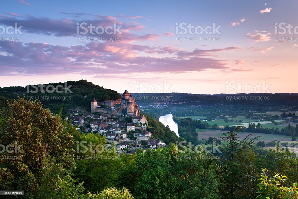 Village and chateaux of Castlenaud stock photo