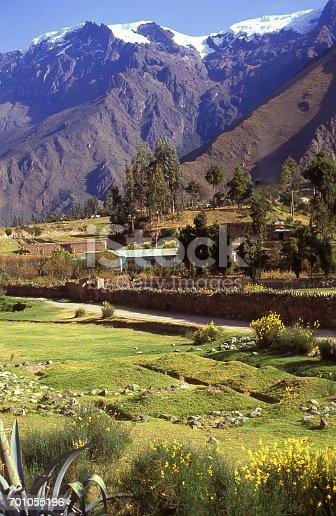 Village and fields in Urubamba Valley near Cuzco Peru South America