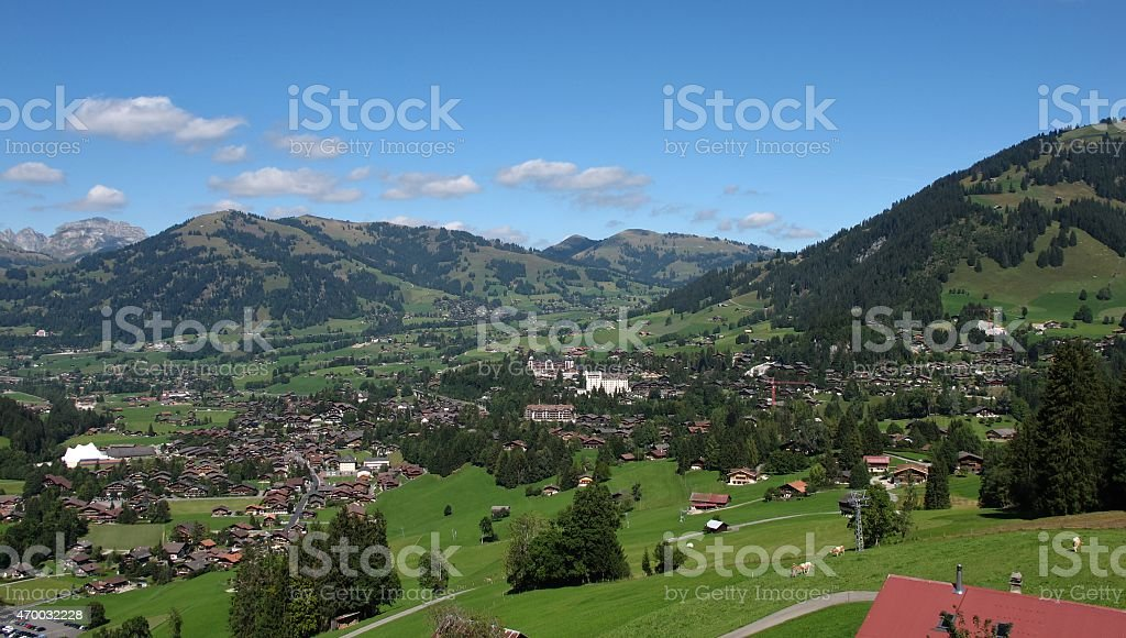 Village and holiday resort Gstaad stock photo