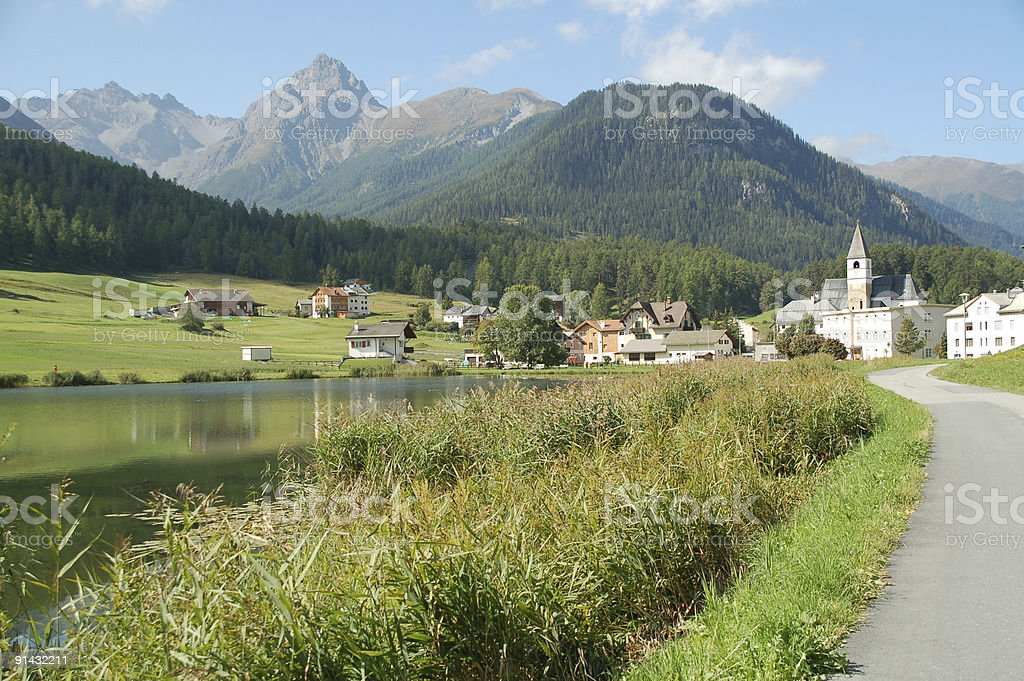 Village and Lake Tarasp royalty-free stock photo