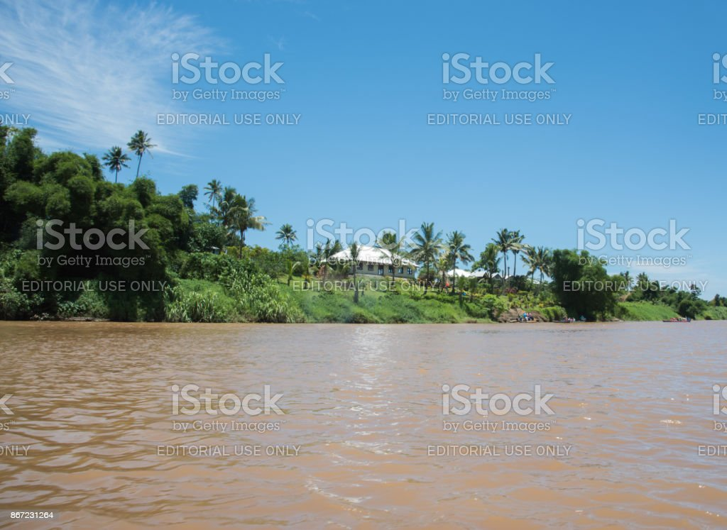 Village and Navua River stock photo