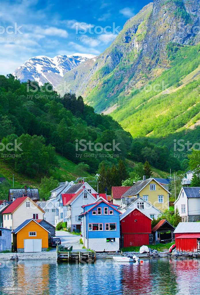 Village and Sea view on mountains in Geiranger fjord, Norway stock photo