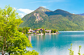 Village at a Mountain Lake in the Bavarian Alps