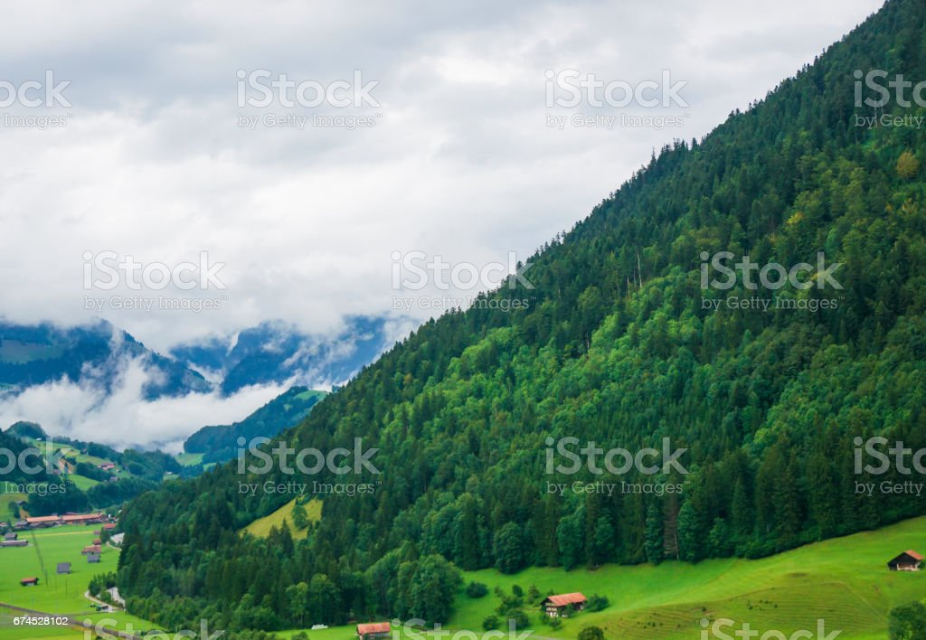 Village at Boltigen at Jaun Pass in Fribourg of Switzerland stock photo