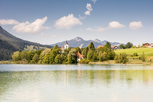 Village At Lake Weissensee Stock Photo - Download Image Now