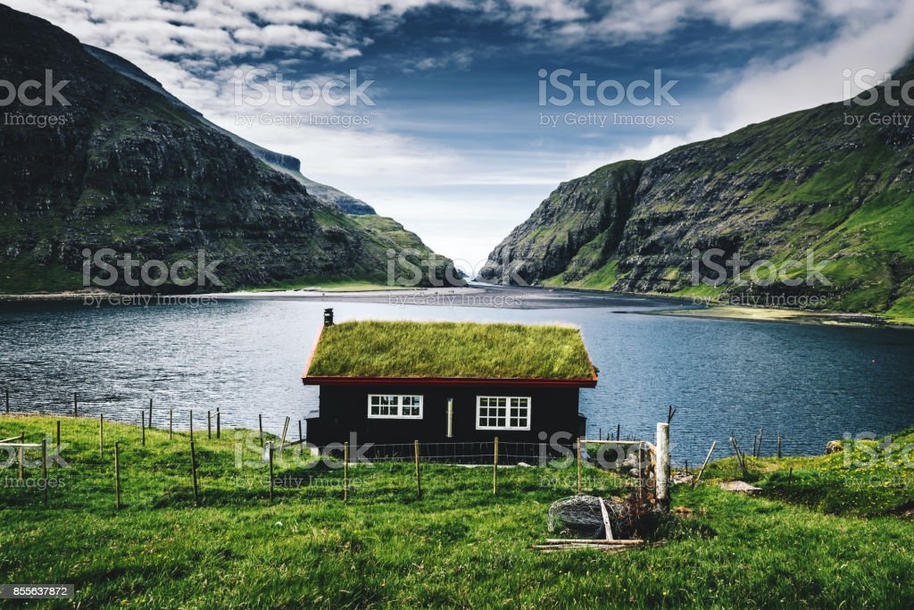 village at saksun with grass on the roof stock photo
