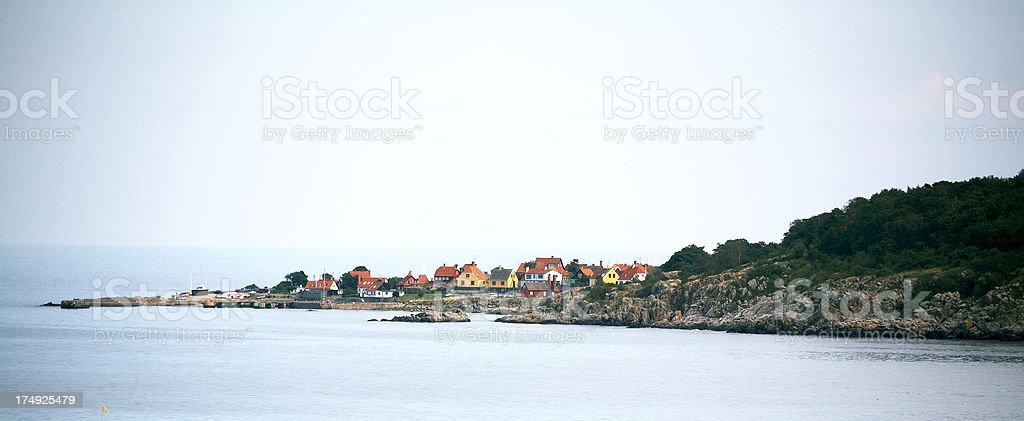 Village at the coast stock photo