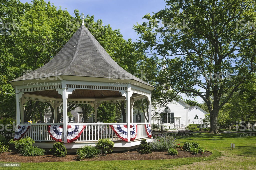 Village Bandstand with Bunting royalty-free stock photo