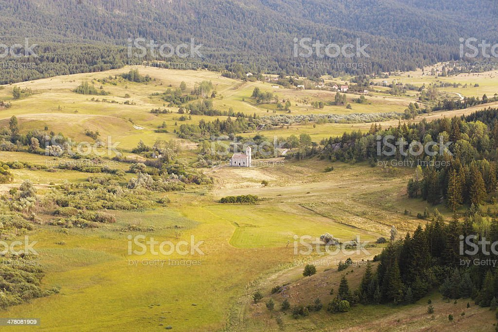 village behind the pines royalty-free stock photo