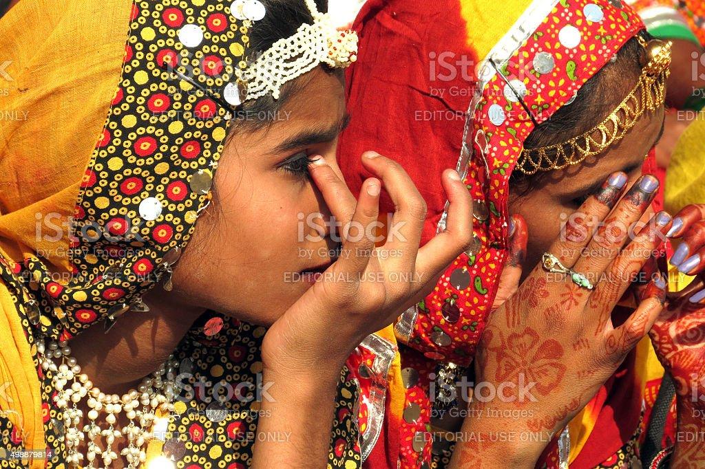 Village belle at Pushkar Fair stock photo