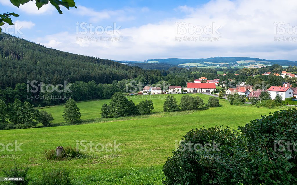 Village below the castle Velhartice stock photo