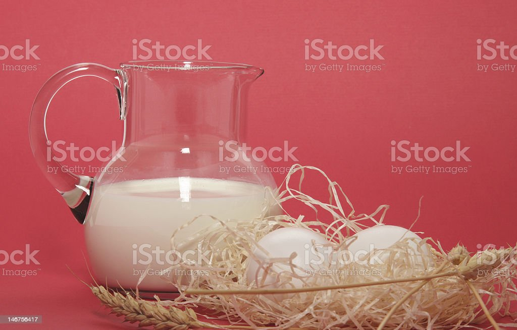 village breakfast on the red background royalty-free stock photo