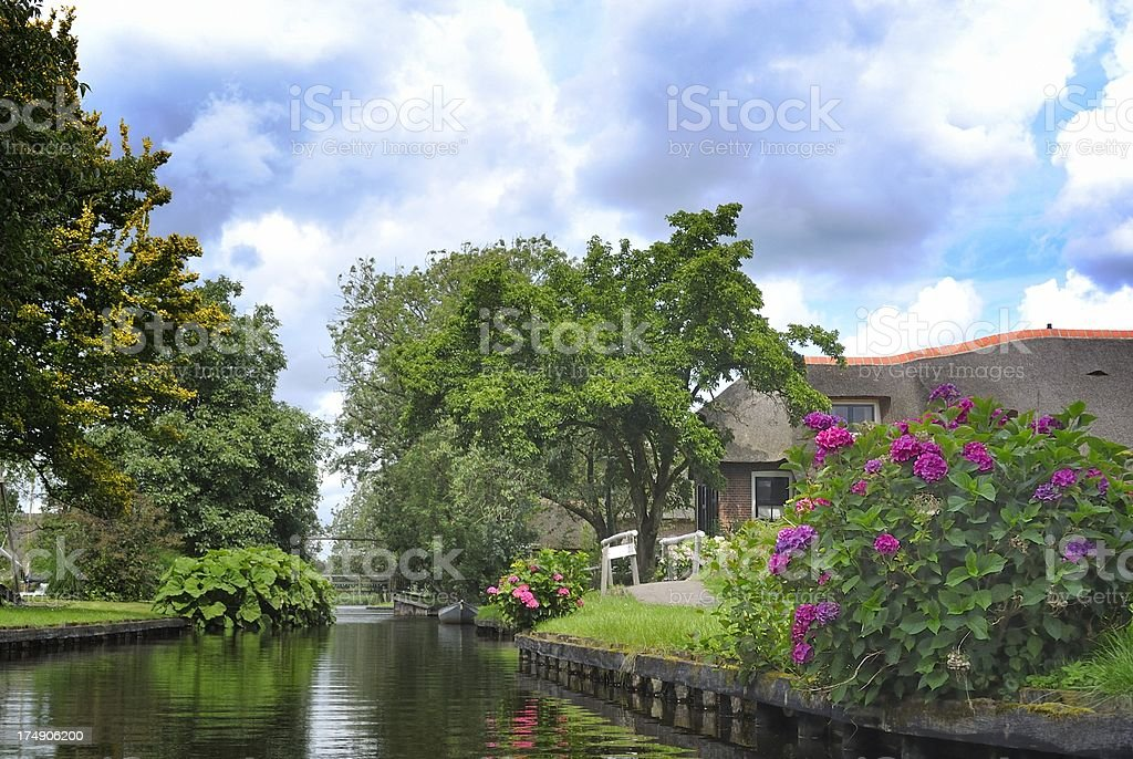 Village canal stock photo