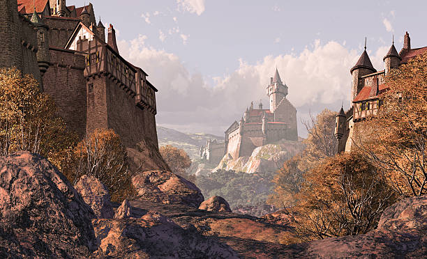 средневековый замок в деревне раз - средневековье стоковые фото и изображения